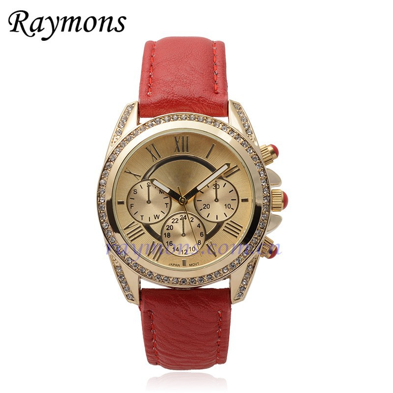 Hot Sale US Standard Platinum Rhinestone Studed Accent Round Dial Chronograph Watch