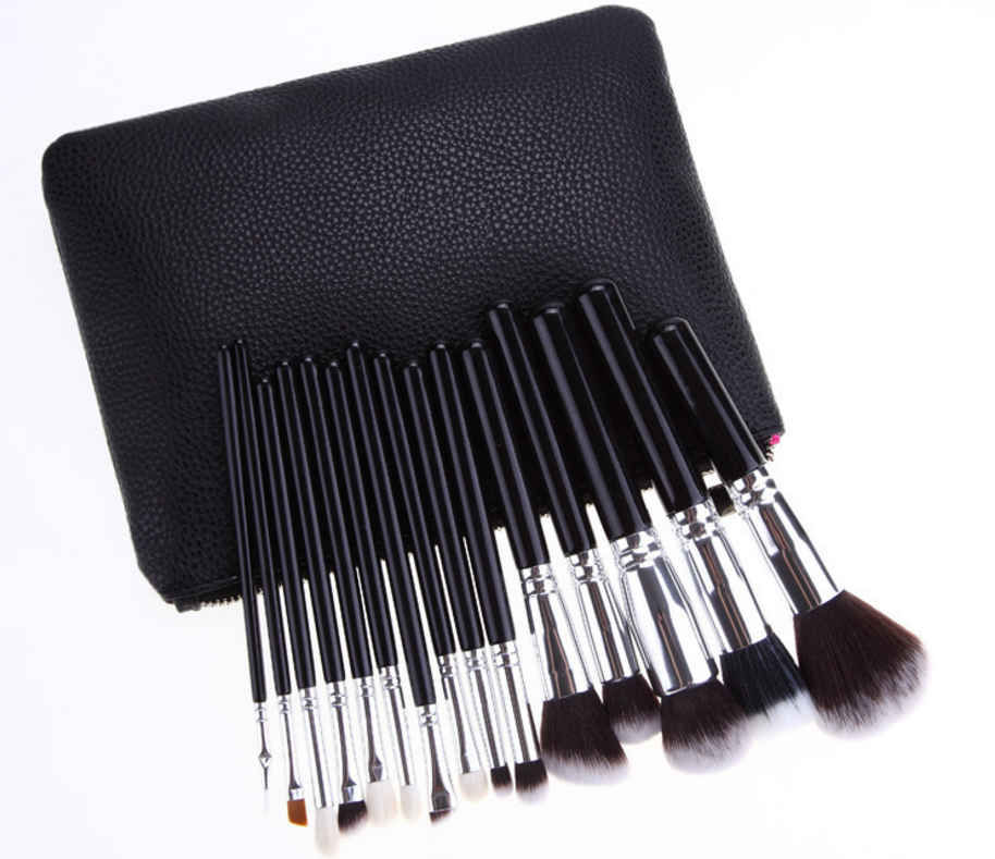 15pcs New silver ferrule makeup brush set cosmetics brush tools bag