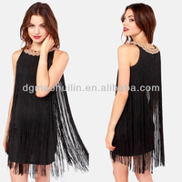 2014 wholesale clothes black color plus size flapper dress for young lady