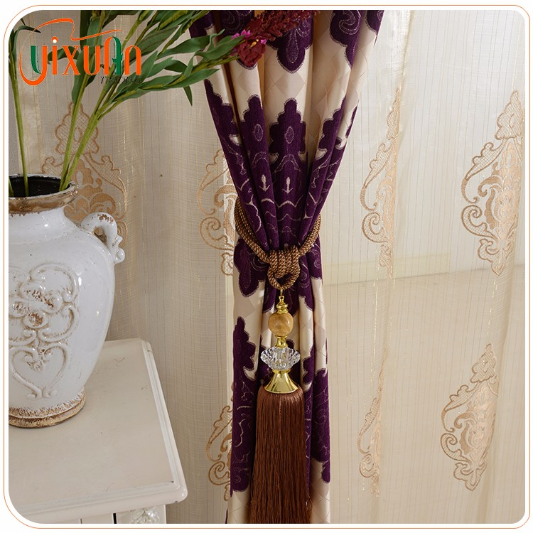 china products beautiful poly jacquard french lace curtain for wholesales