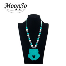 >>>2016 hot sale mother jewelry, owl pendant silicone beads baby teething necklace for baby teething Moonso KS6716