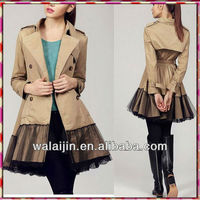 Ladies sweat trench coat latest design coat long style
