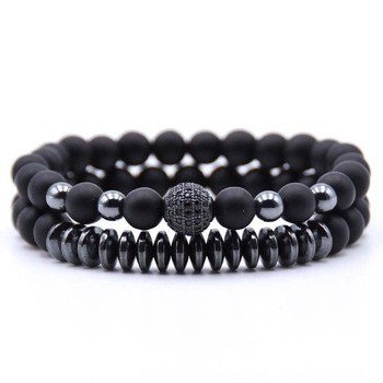 AP21549 Wholesale custom charm elastic bracelet set jewelry for men