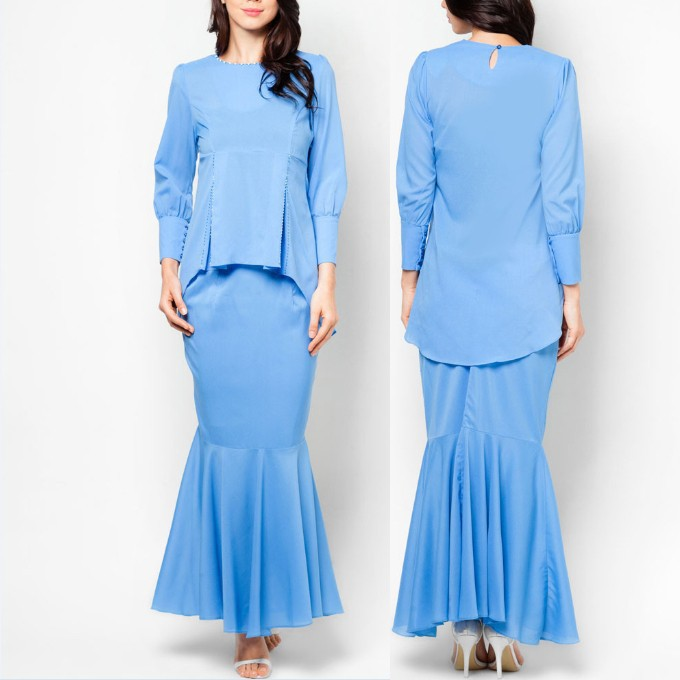 model-baju-kurung-modern blue ruffle ladies baju