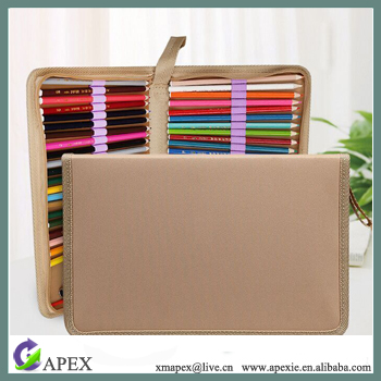 Fashion Roll Up Canvas Pencil Bag for Drawing Pencils