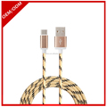 High speed metal alloy cotton braided micro USB charging data cable