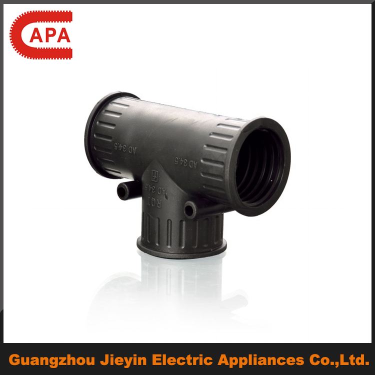 Good quality T-end plastic 3 way pipe connector/tubing connector/electrical conduit tee fitting