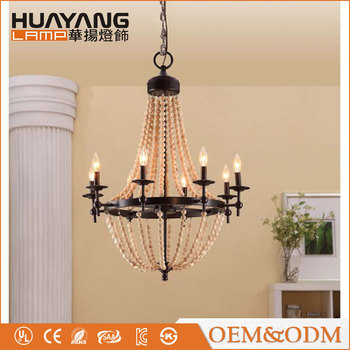 Natural Beaded retro Industrial pendant lamp lighting indoor decorative iron vintage chandelier