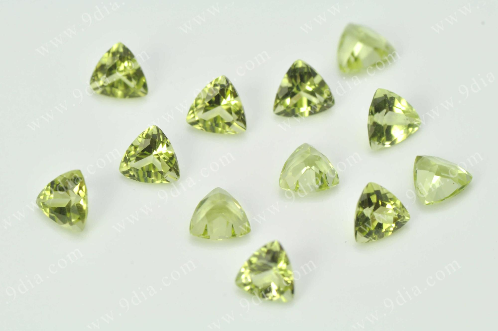 Low Cost Factory Direct Selling 3*3 Natural trillion Peridot Stone China Peridot