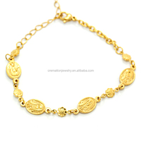 Christians Rosary Jewelry China Supplier Wholesales 18K Gold Plated Stainless Steel Religious De Guadalupe Virgin Mary Bracelet