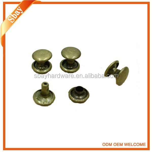double cap custom size metal rivets for leather bags