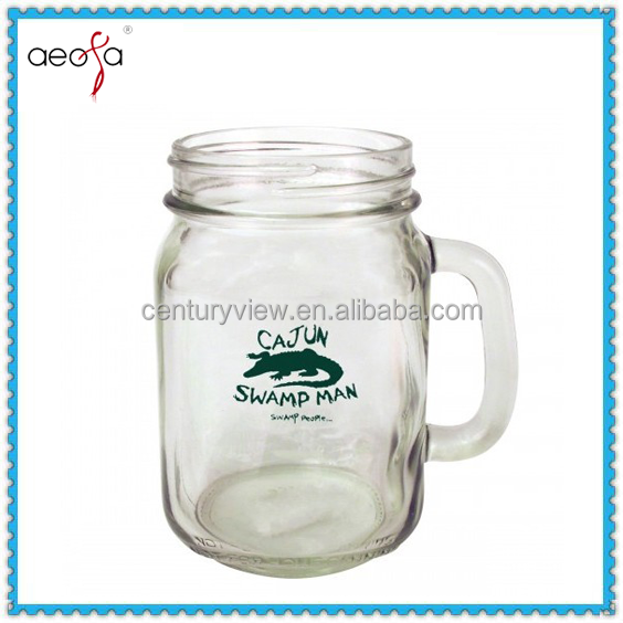 2016 Cheap Square Glass Jar With Handle Milk Beverage Mug