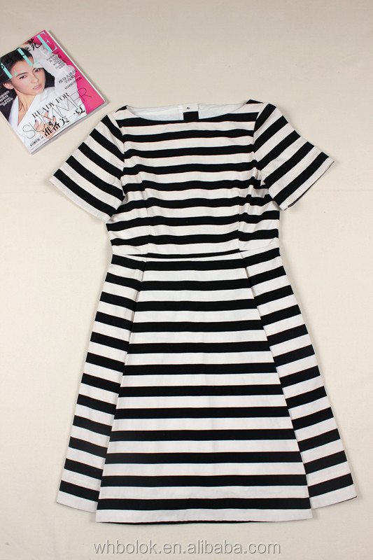 Fashionable new design lady stripe dress cotton sumenr dress
