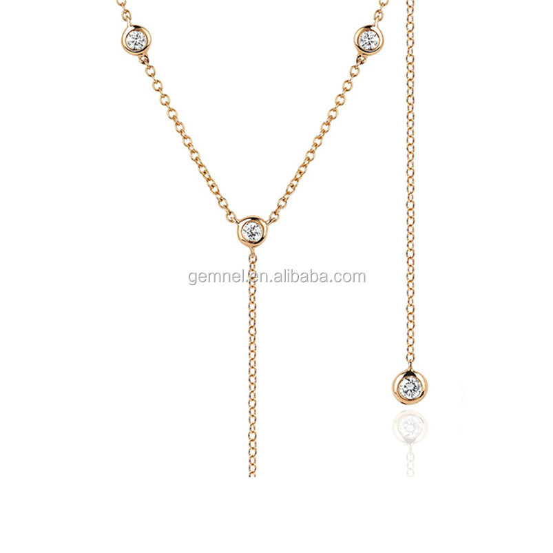 Italy silver women 8 bezel diamond lariat necklace
