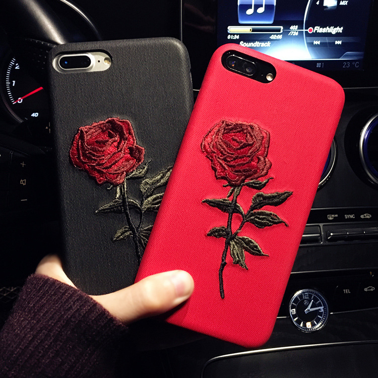 Customized logo luxury rose flower embroidery fabric phone shell phone case case cover for iphone X 8 7 6 plus