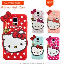 new arrival 3D cut hello kitty silicone case for samsung galaxy S5,for samsung s5 3D cut cartoon hello kitty silicone case
