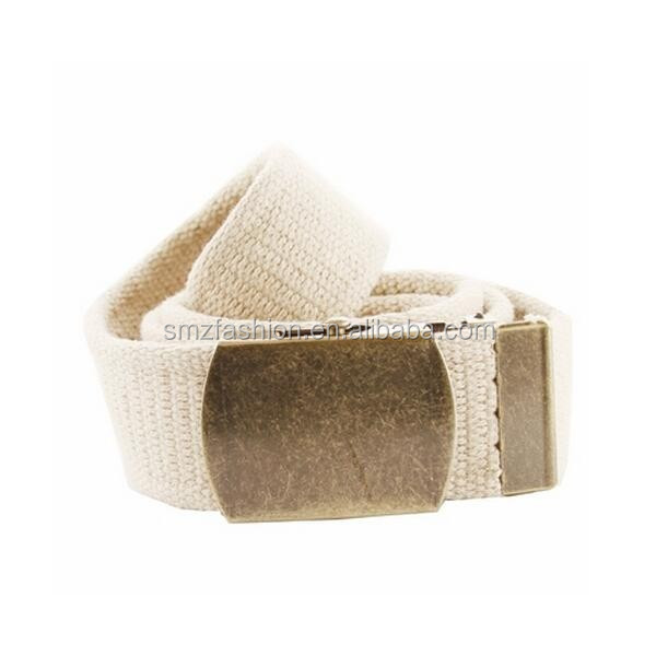 Mens Webbing Web Military Style Canvas Tan western fabric belt