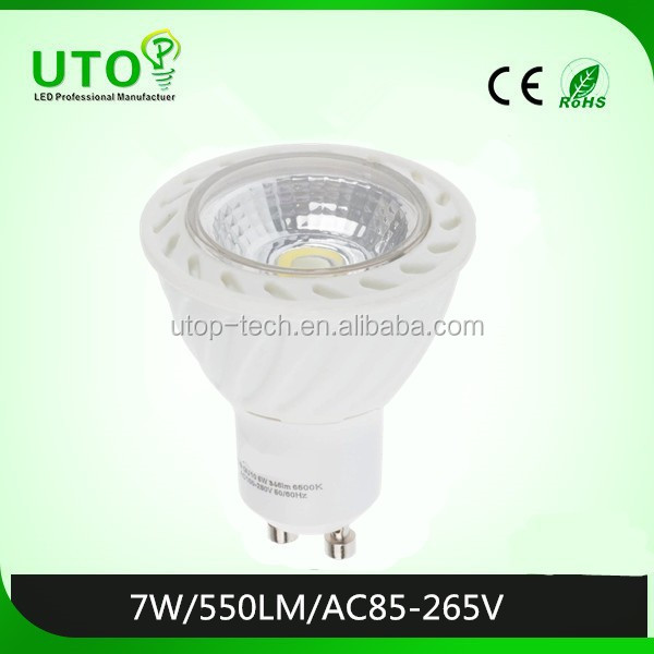 7W spot LED light with COB chip and GU10 socket
