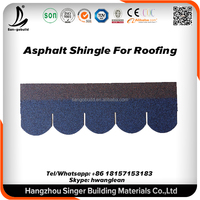 Chinese Manufacture Competitive Price Fiberglass Modified Bitumen , 3-tab laminated round Blue Asphalt Roofing Shingles