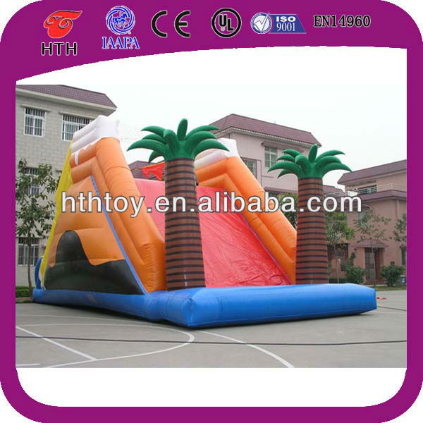 inflatable Coconut tree giant big Double sided inflatable wet and dry slide inflatable plateform jungle slide
