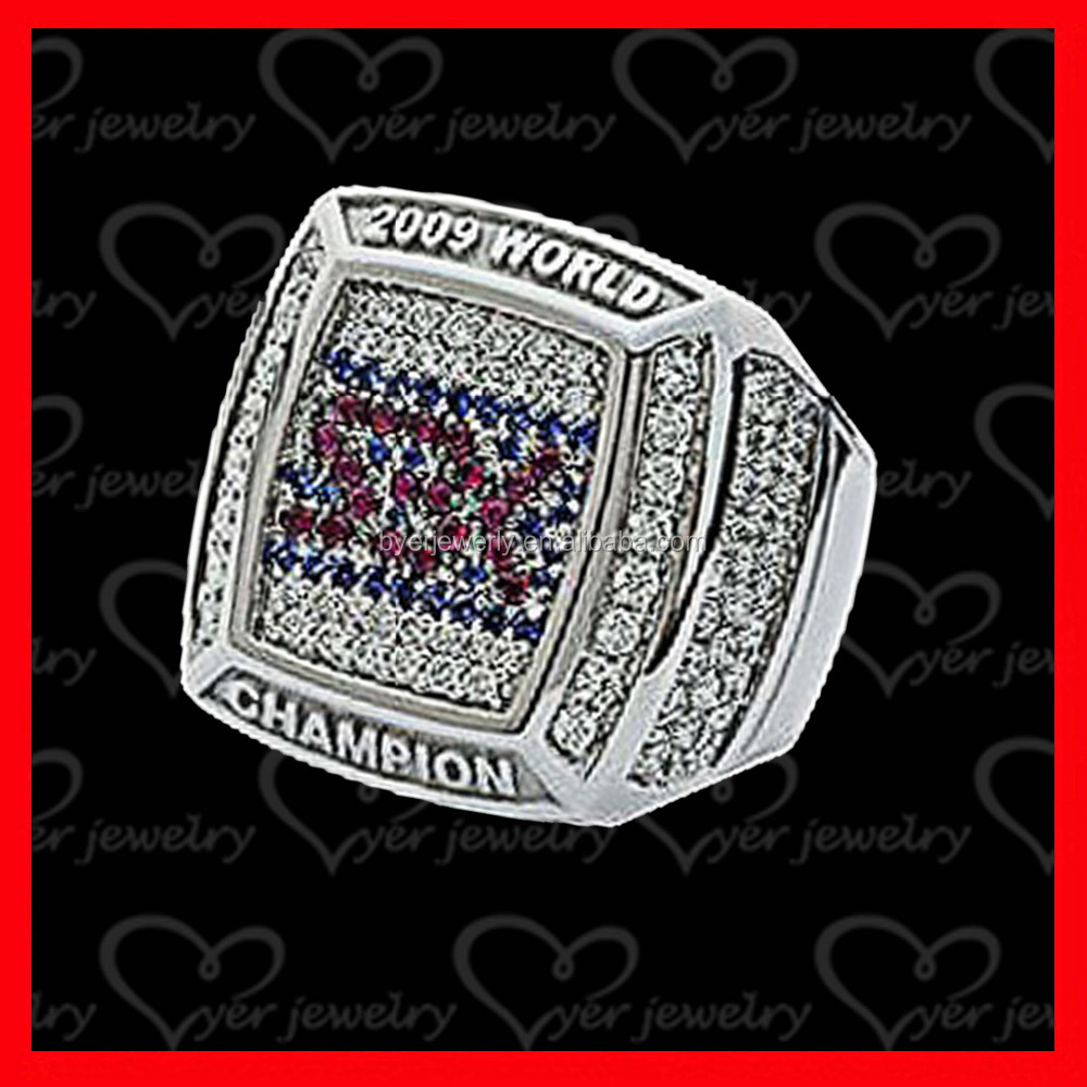 2009 silver plated world champions ring setting with colors CZ stones