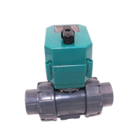 CTF-001 DN32 DN25 UPVC double union thread DC24V CR04 normally close motorized PVC plastic ball valve
