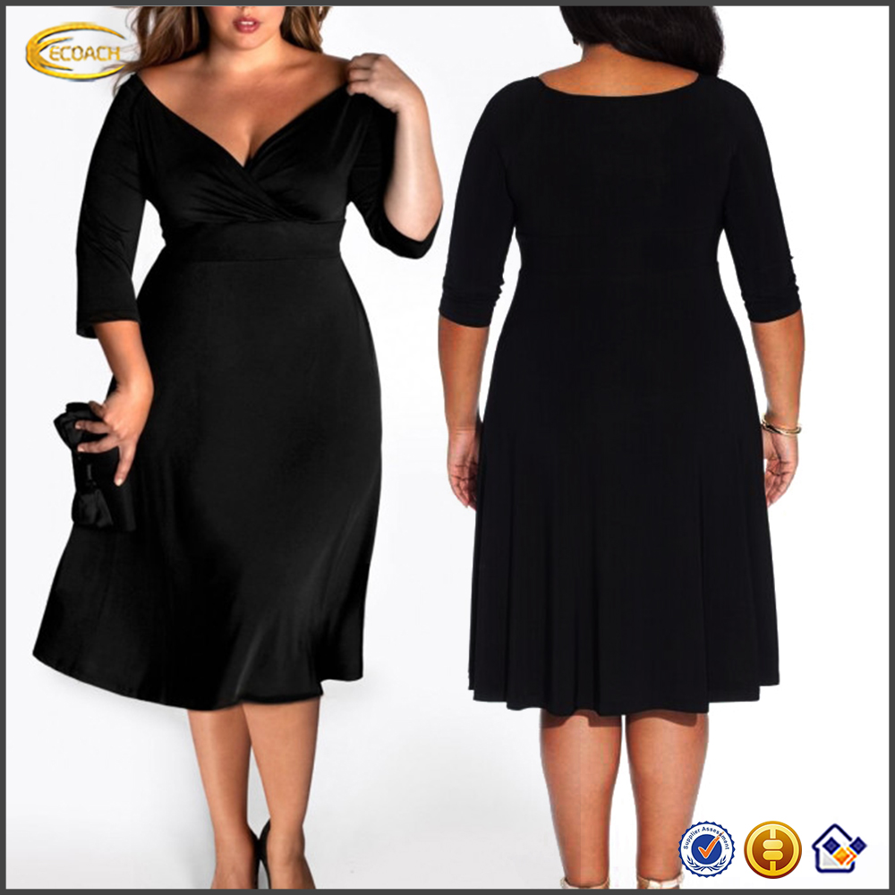 Ecoach Wholesale OEM plain fat ladies designs Long Sleeve Black v neck fancy large size evening dress