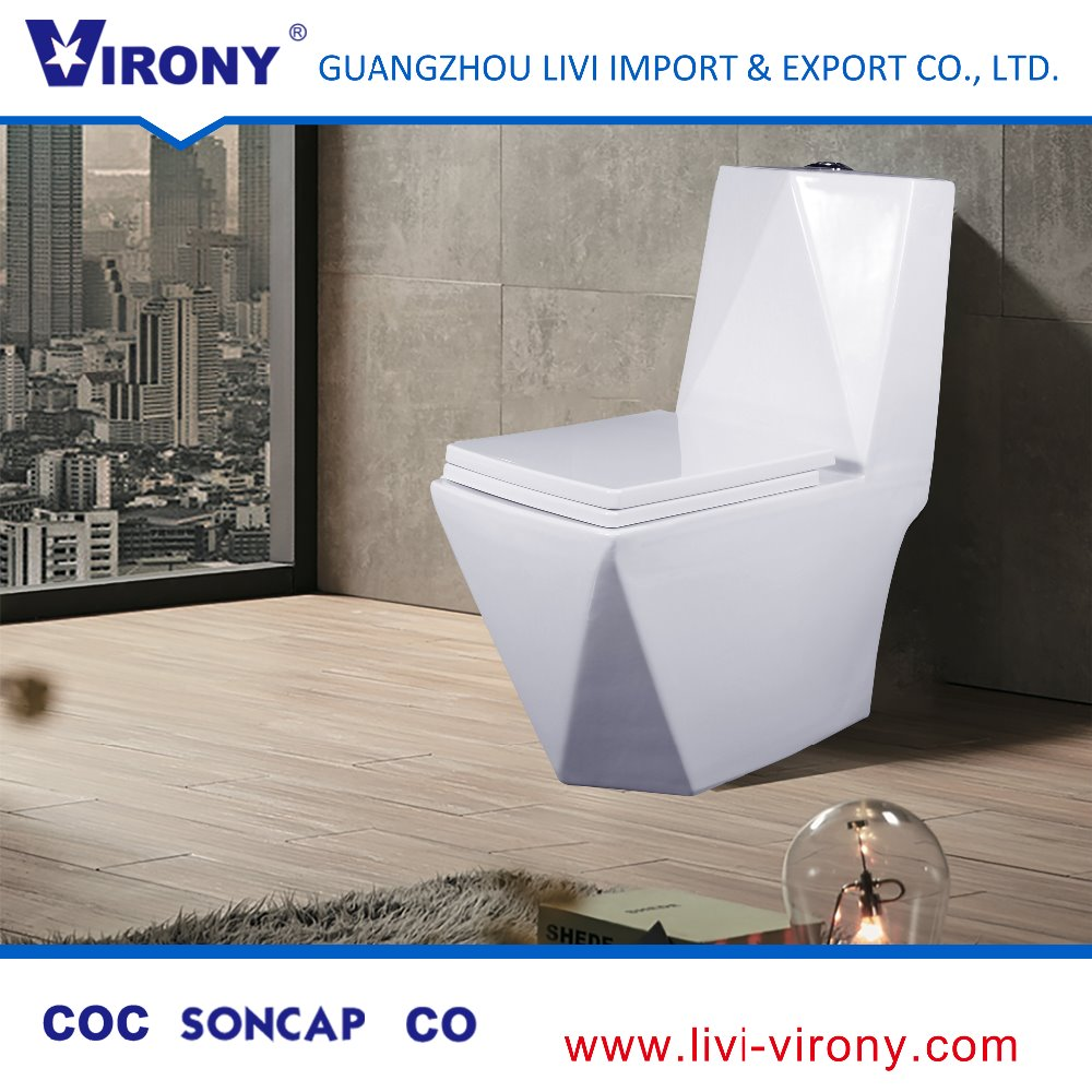 Hot Sale Siphonic Bathroom Washdown ceramic Vacuum Toilet with Cover seat