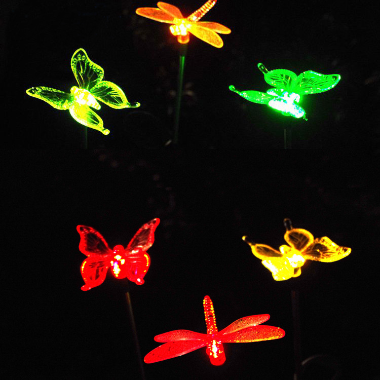 2-pack solar butterfly stake light Outdoor LED solar lawn light Dragonfly hummingbird solar lamp