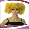 yellow funny coloured synthetic two ponytail hair wigs