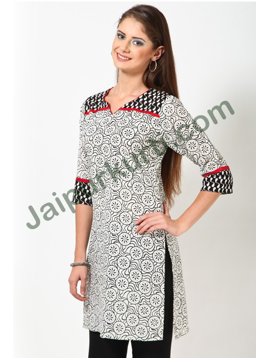 wholesale designer black & white printed long cotton kurti design for ladies