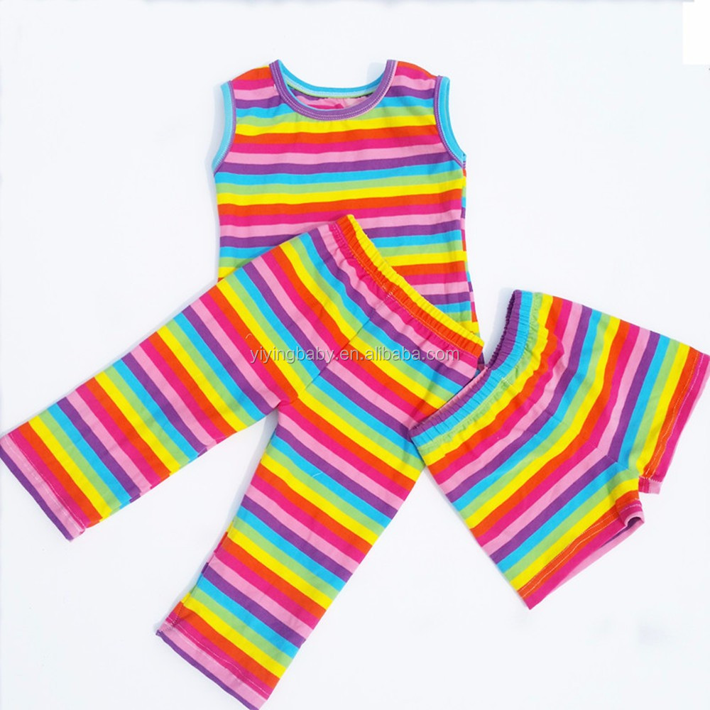 summer suits wholesale latest style girls boutique clothing rainbow pants and sleeveless vest outfits