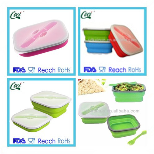 Portable silicone folding lunch box