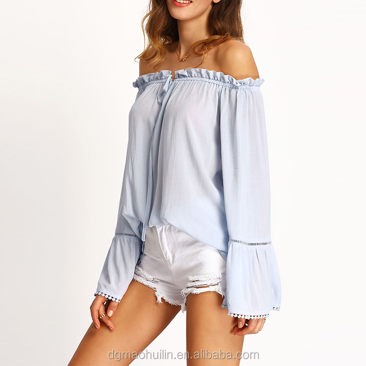 Vertical stripe floral print smocking off shoulder casual tops