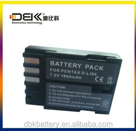 Li-ion Camera Battery Rechargeable for PENTAX D-LI90 1860mAh