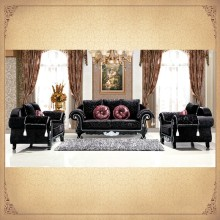 Full Black Floral Fabric Upholstered Antique Rococo Designs Furniture European Western Style Sectional Sofas