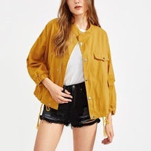 Custom high quality drawstring hem elastic cuff lady bomber jacket