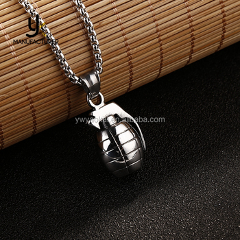 High Quality Wholesale 316L Stainless Steel Bomb Pendant Necklace Unisex