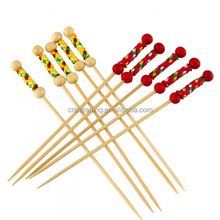 Factory Red Or Yellow Braided Bamboo Pick With Double Ball