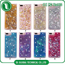 Blank quicksand phone cases for uv printing mobile case for iphone 7 plus glitter with diamond decoration
