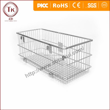 Stainless steel wire shopping basket chrome coated