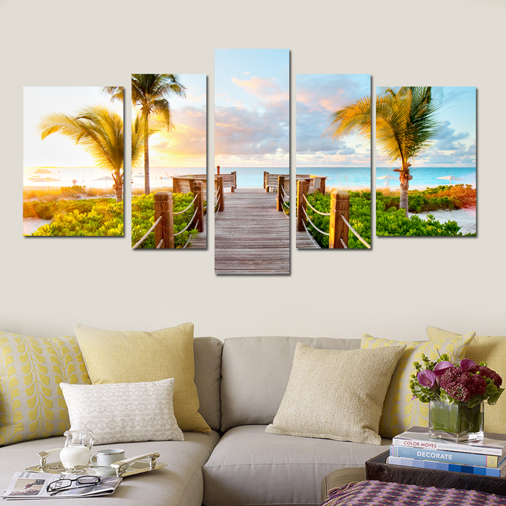 Stretched Canvas Art Coastal Views Scenery Set of 5 Seascape Wall Picture Print