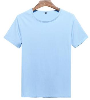 New design high quality t-shirt 95% cotton 5% elastane men's light blue t shirt
