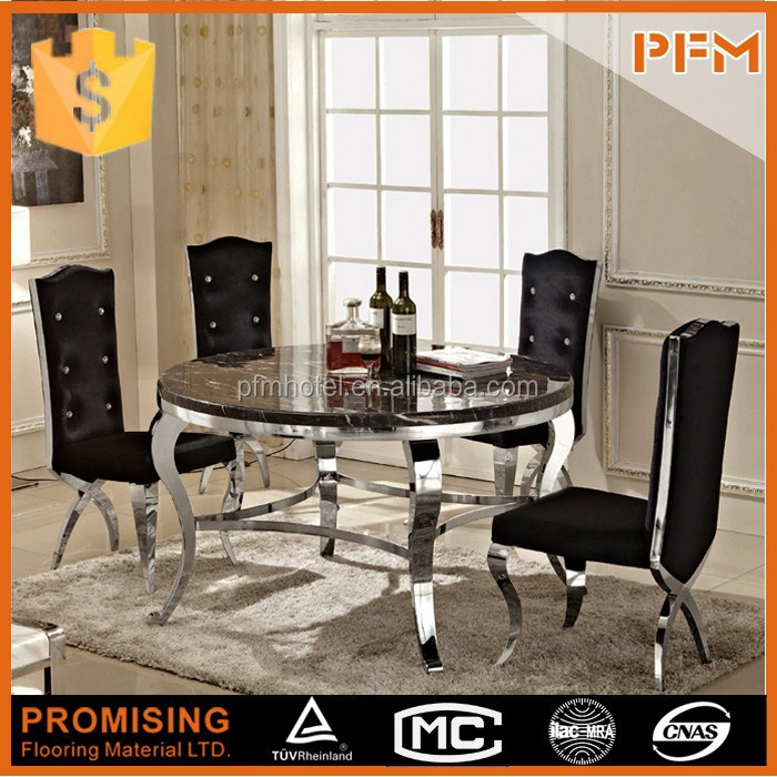 stainless steel round marble top stone dining table and chair set