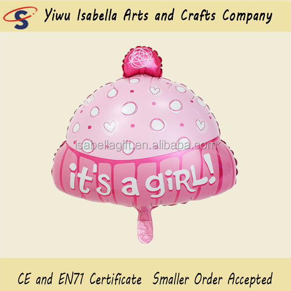baby hat pink and blue color foil balloon/helium balloon/alminium balloon for 1 year old kids