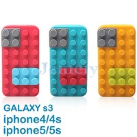 Silicon Stand Block Case Silicon Material Back Cover For Mobile Phone For iPhone 4/4s, 5/5s For Samsung Galaxy S3