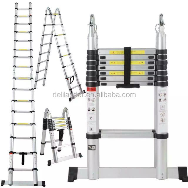 EN131 Aluminum Telescopic Extension Ladder with Spring Loaded Locking Mechanism, Non-slip Ribbing, 330lb A Type 16.5 Feet