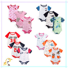 (High Quality) 2017 Summer Baby Clothes Football Dinasour Stawberry Cotton Cheap Baby Romper Baby Toddler Clothing