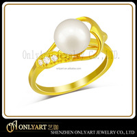 high quality women jewelry 925 silver original pearl ring yellow gold ring