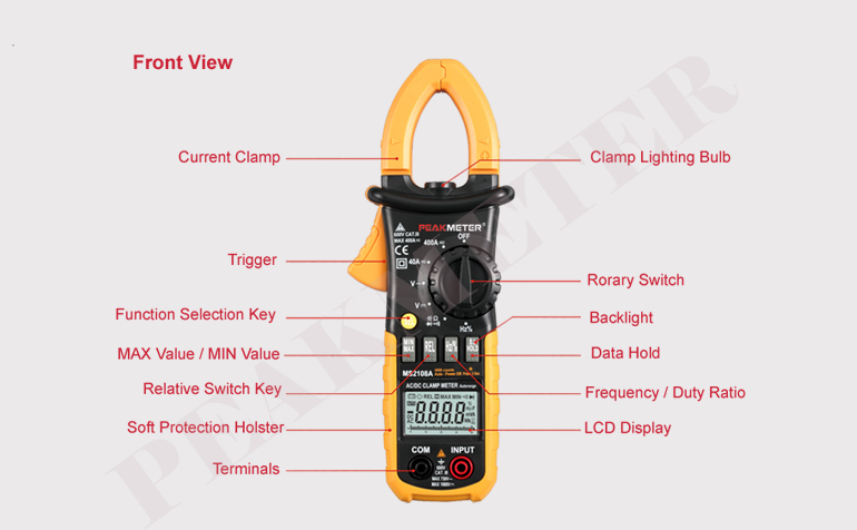 Automatic / Manual Range 4000 Counts AC DC Digital Clamp Meter